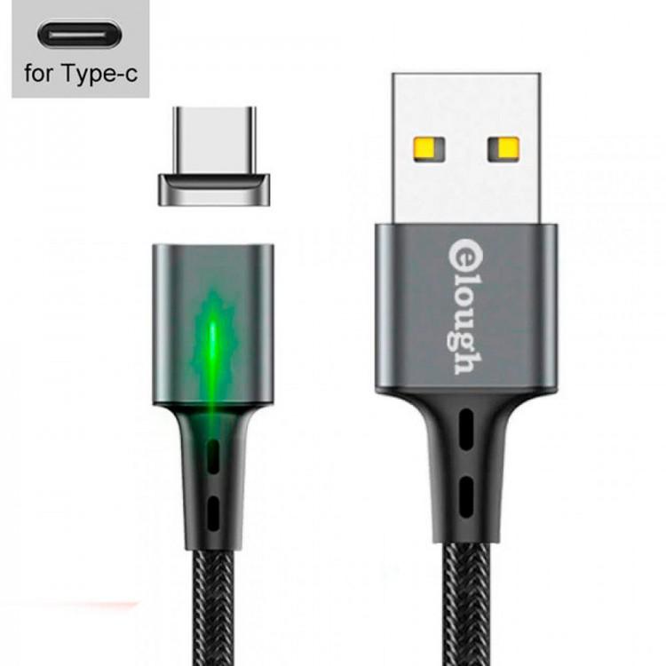 USB - кабель с магнитной зарядкой, Type-C, 3A, 1м