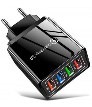 Сетевое зарядное устройство с разъемом 4xUSB, 45W, 3A и 2,4A, черное