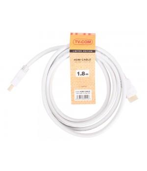 Кабель цифровой TV-COM HDMI19M, V1.4+3D, 1.8 м белый